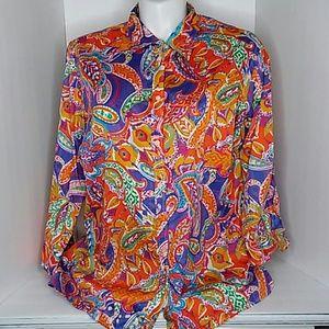 Lauren Ralph Lauren watercolor button up blouse 3X